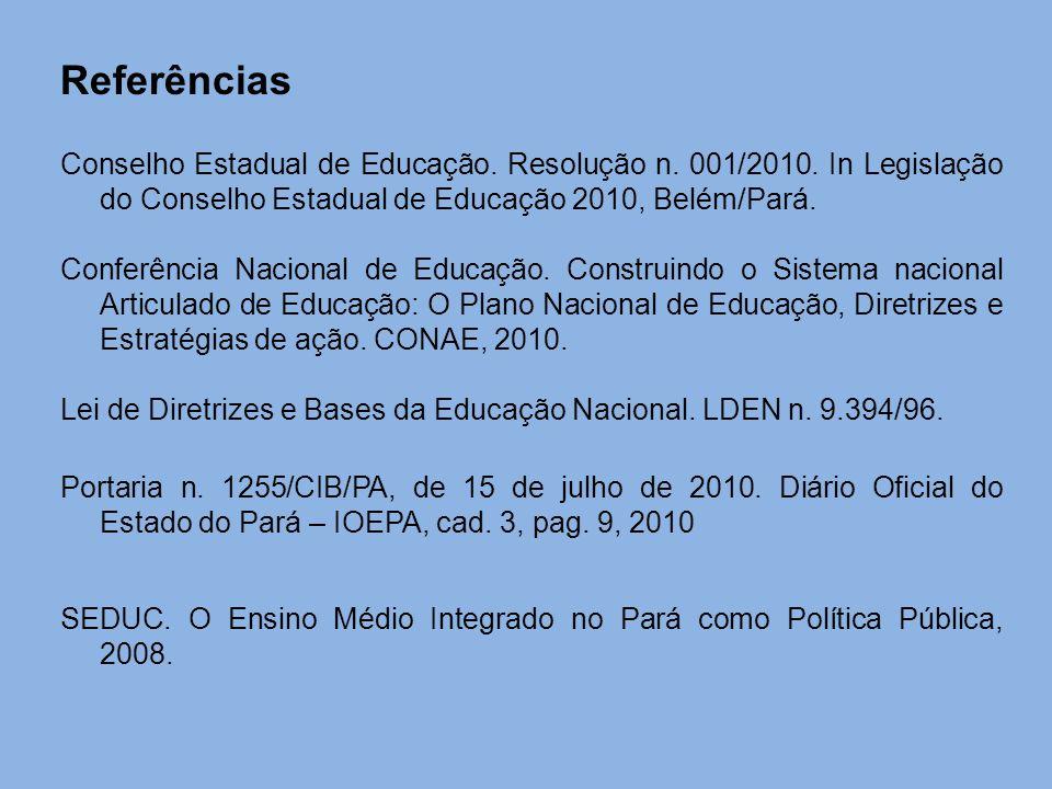 Referências Conselho Estadual de Educação. Resolução n. 001/2010. In Legislação do Conselho Estadual de Educação 2010, Belém/Pará. Conferência Naciona
