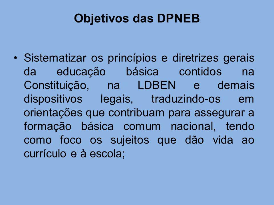 Objetivos das DPNEB Sistematizar os princípios e diretrizes gerais da educação básica contidos na Constituição, na LDBEN e demais dispositivos legais,