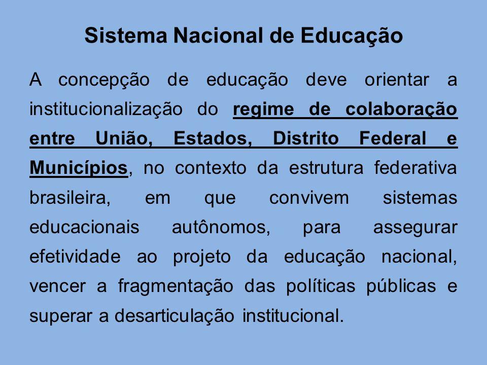 Sistema Nacional de Educação A concepção de educação deve orientar a institucionalização do regime de colaboração entre União, Estados, Distrito Feder