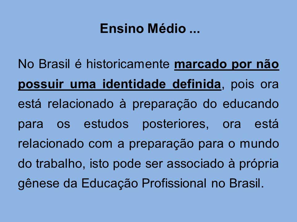 Ensino Médio... No Brasil é historicamente marcado por não possuir uma identidade definida, pois ora está relacionado à preparação do educando para os