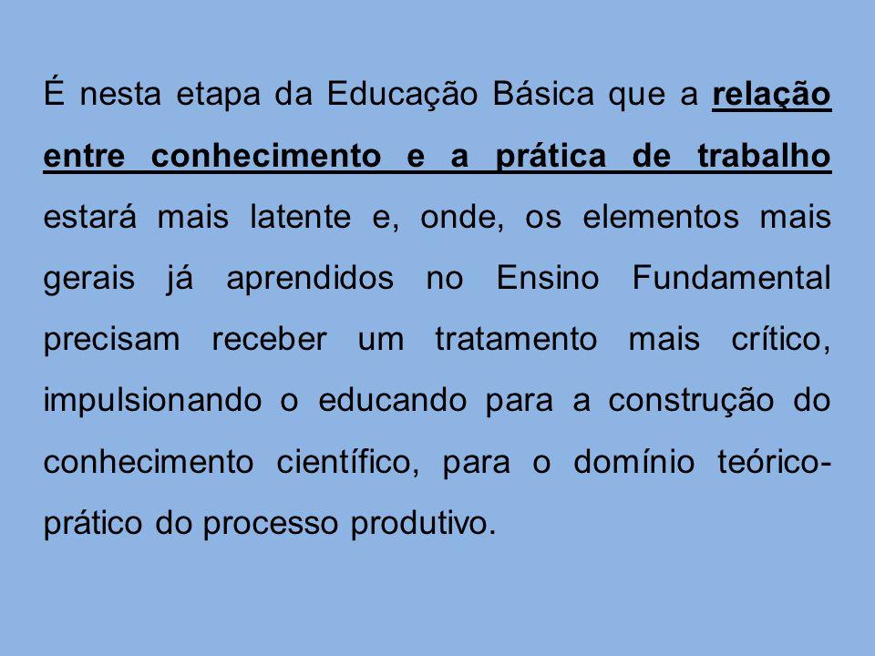 É nesta etapa da Educação Básica que a relação entre conhecimento e a prática de trabalho estará mais latente e, onde, os elementos mais gerais já apr