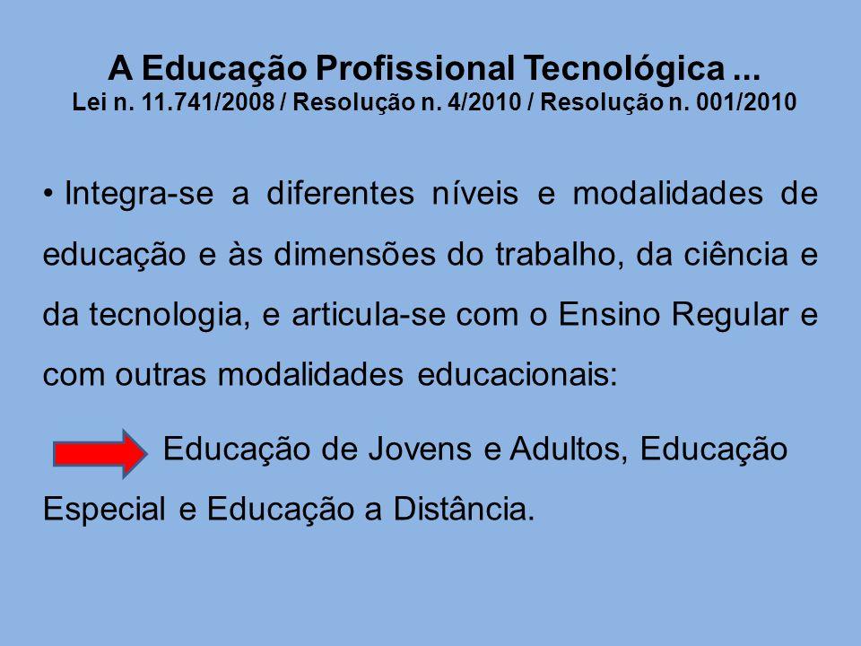 A Educação Profissional Tecnológica... Lei n. 11.741/2008 / Resolução n. 4/2010 / Resolução n. 001/2010 Integra-se a diferentes níveis e modalidades d