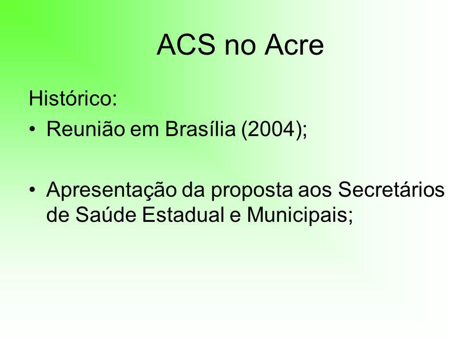 ACS no Acre Histórico: Reunião em Brasília (2004); Apresentação da proposta aos Secretários de Saúde Estadual e Municipais;