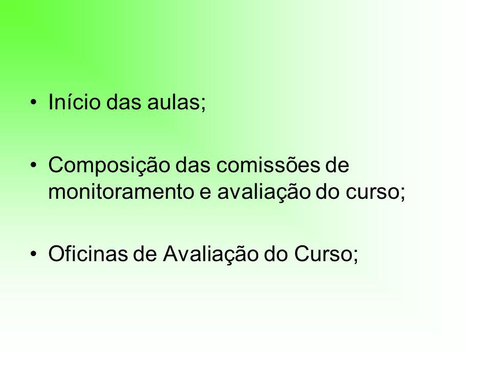 Início das aulas; Composição das comissões de monitoramento e avaliação do curso; Oficinas de Avaliação do Curso;