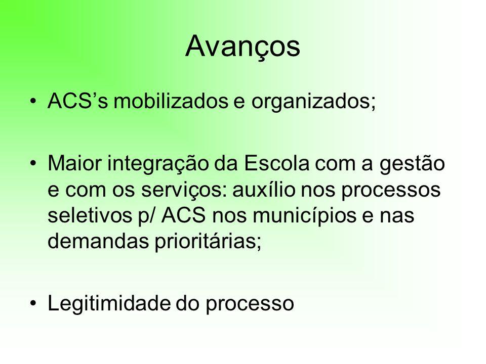 Avanços ACSs mobilizados e organizados; Maior integração da Escola com a gestão e com os serviços: auxílio nos processos seletivos p/ ACS nos municípi