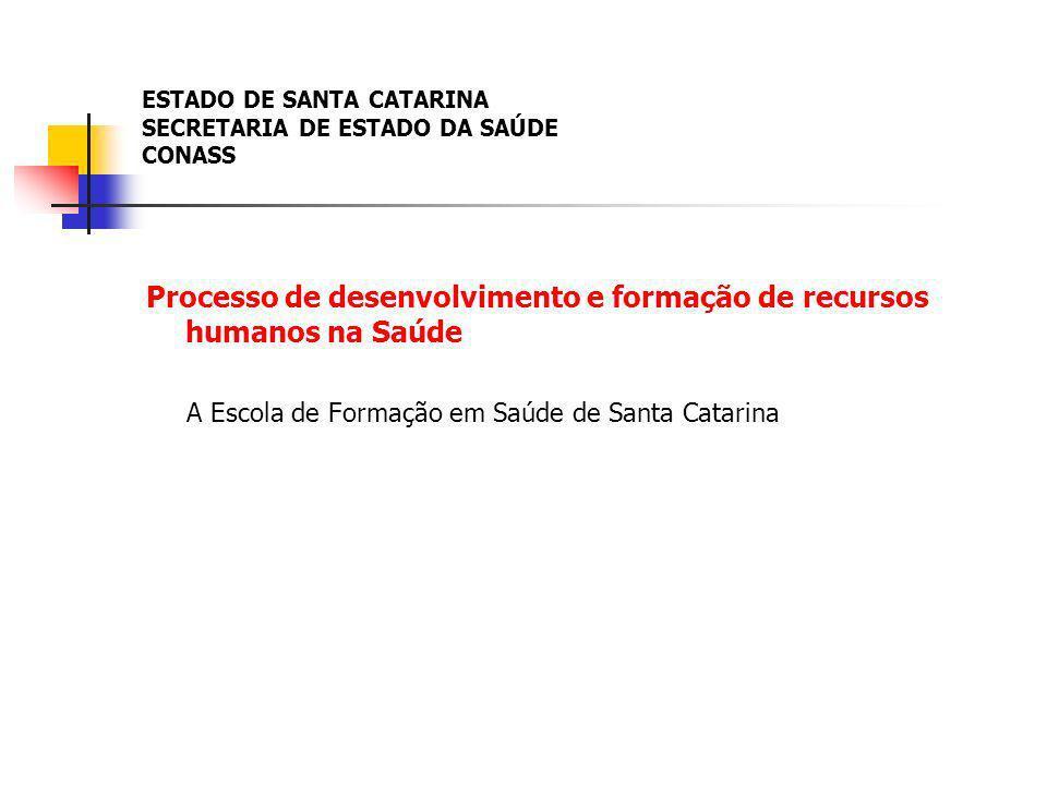 ESTADO DE SANTA CATARINA SECRETARIA DE ESTADO DA SAÚDE CONASS Processo de desenvolvimento e formação de recursos humanos na Saúde A Escola de Formação em Saúde de Santa Catarina
