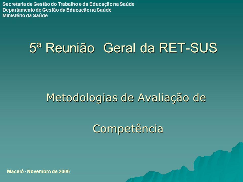 5ª Reunião Geral da RET-SUS Metodologias de Avaliação de Competência Competência Maceió - Novembro de 2006 Secretaria de Gestão do Trabalho e da Educação na Saúde Departamento de Gestão da Educação na Saúde Ministério da Saúde