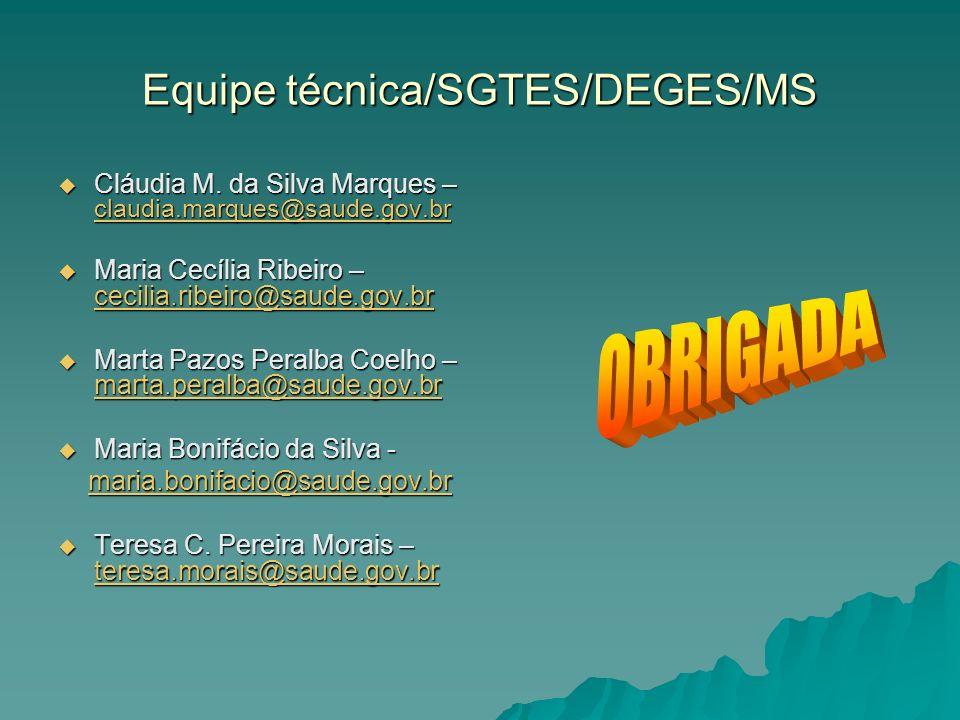 Equipe técnica/SGTES/DEGES/MS Cláudia M. da Silva Marques – claudia.marques@saude.gov.br Cláudia M.
