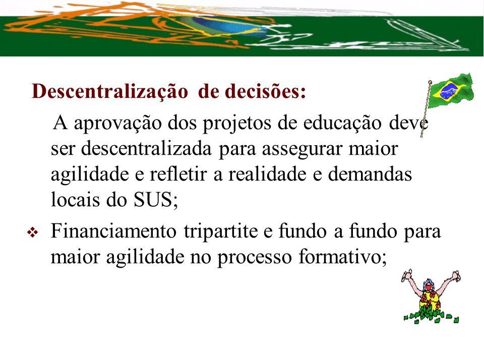 Descentralização de decisões: A aprovação dos projetos de educação deve ser descentralizada para assegurar maior agilidade e refletir a realidade e de