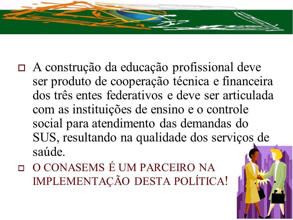 A construção da educação profissional deve ser produto de cooperação técnica e financeira dos três entes federativos e deve ser articulada com as inst