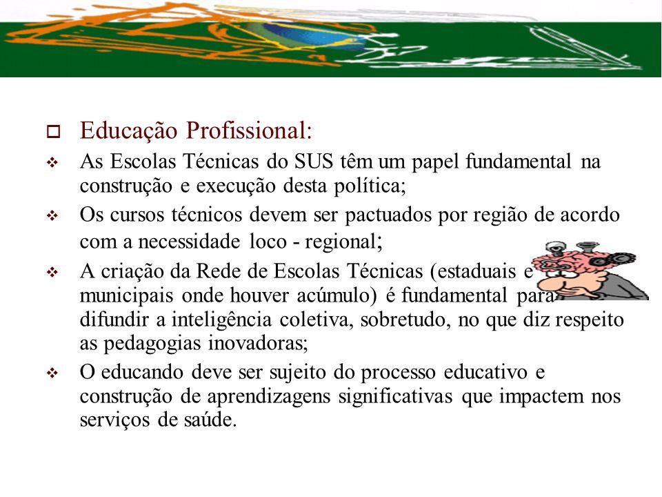 Educação Profissional: As Escolas Técnicas do SUS têm um papel fundamental na construção e execução desta política; Os cursos técnicos devem ser pactu