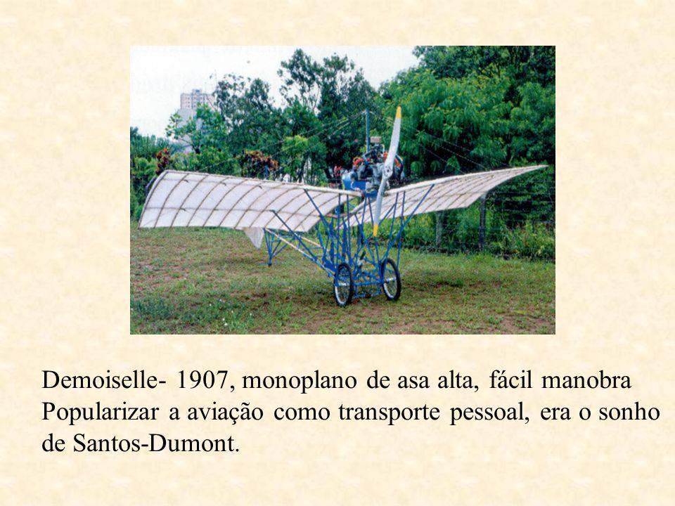 Demoiselle- 1907, monoplano de asa alta, fácil manobra Popularizar a aviação como transporte pessoal, era o sonho de Santos-Dumont.