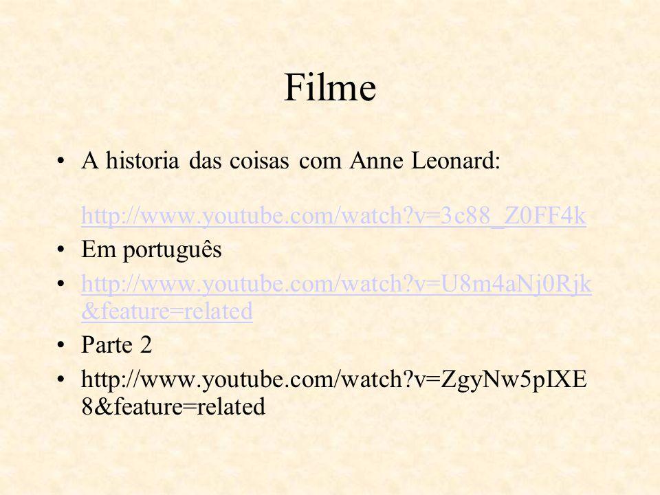 Filme A historia das coisas com Anne Leonard: http://www.youtube.com/watch?v=3c88_Z0FF4k http://www.youtube.com/watch?v=3c88_Z0FF4k Em português http: