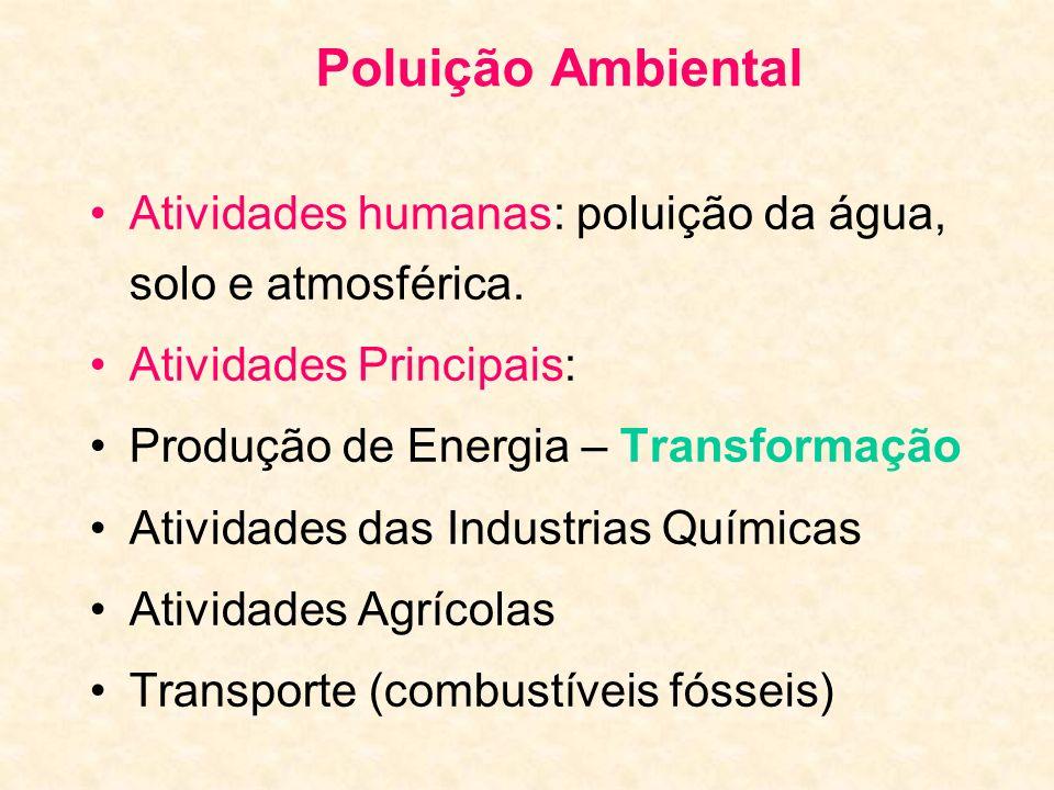 Poluição Ambiental Atividades humanas: poluição da água, solo e atmosférica. Atividades Principais: Produção de Energia – Transformação Atividades das