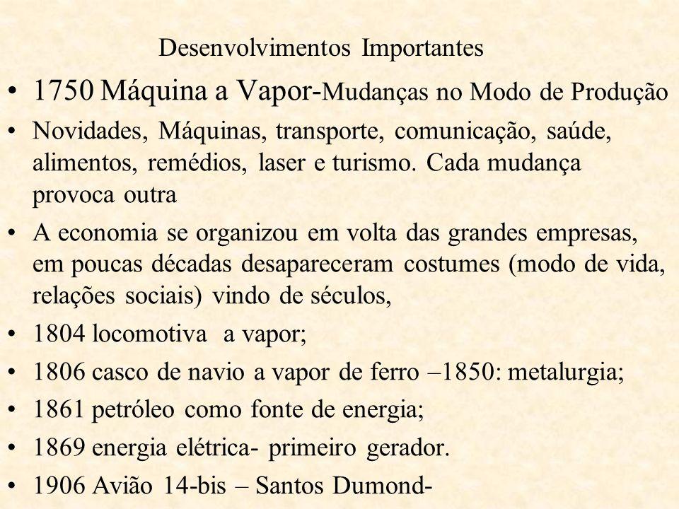 Desenvolvimentos Importantes 1750 Máquina a Vapor- Mudanças no Modo de Produção Novidades, Máquinas, transporte, comunicação, saúde, alimentos, remédi