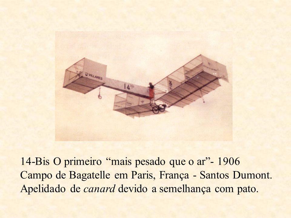 14-Bis O primeiro mais pesado que o ar- 1906 Campo de Bagatelle em Paris, França - Santos Dumont. Apelidado de canard devido a semelhança com pato.