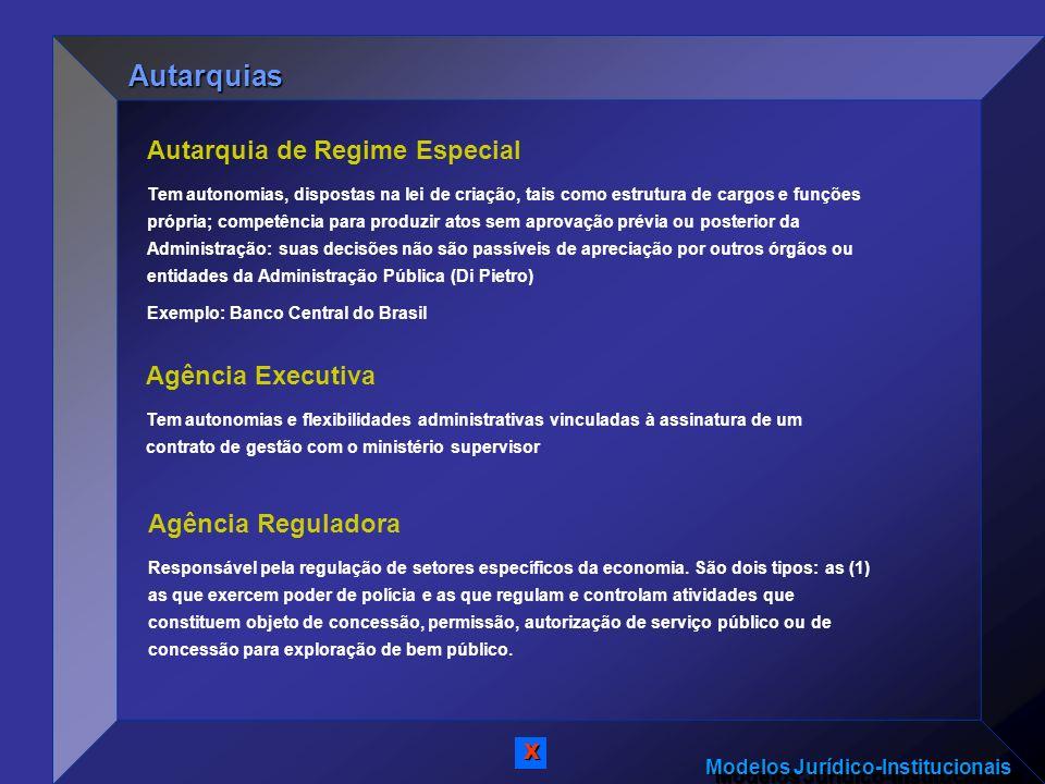 Modelos Jurídico-Institucionais Autarquia de Regime Especial Tem autonomias, dispostas na lei de criação, tais como estrutura de cargos e funções próp