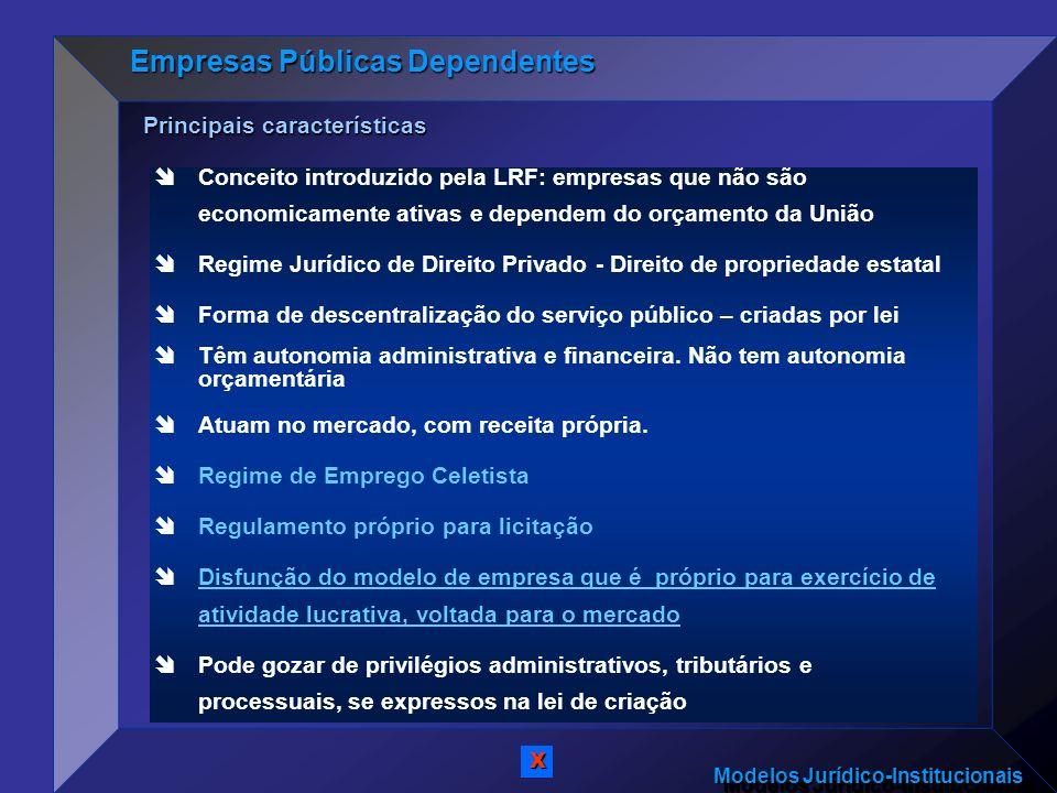 Modelos Jurídico-Institucionais Conceito introduzido pela LRF: empresas que não são economicamente ativas e dependem do orçamento da União Regime Jurí