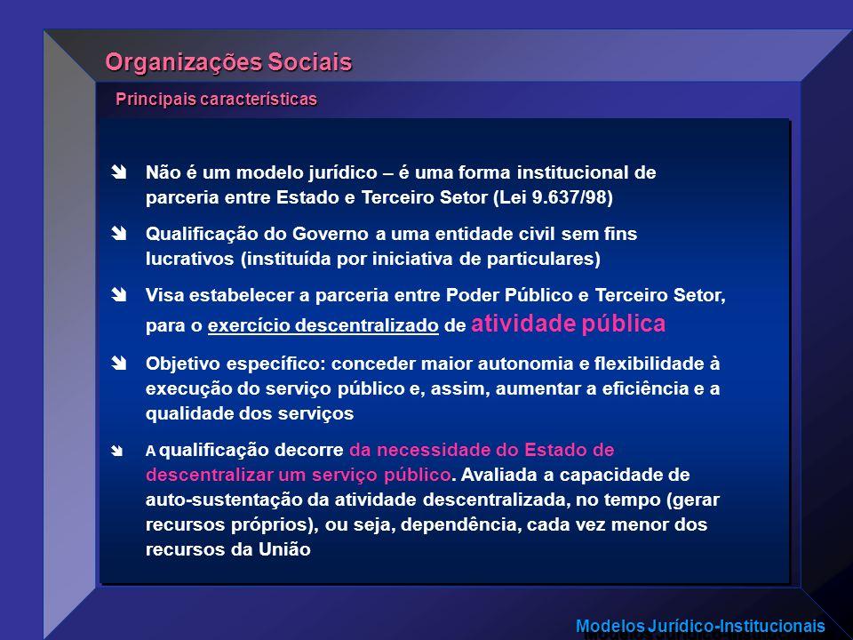 Modelos Jurídico-Institucionais Não é um modelo jurídico – é uma forma institucional de parceria entre Estado e Terceiro Setor (Lei 9.637/98) Qualific