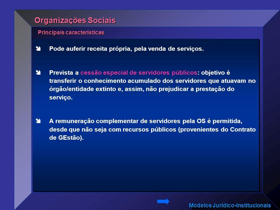 Modelos Jurídico-Institucionais Pode auferir receita própria, pela venda de serviços. Prevista a cessão especial de servidores públicos: objetivo é tr