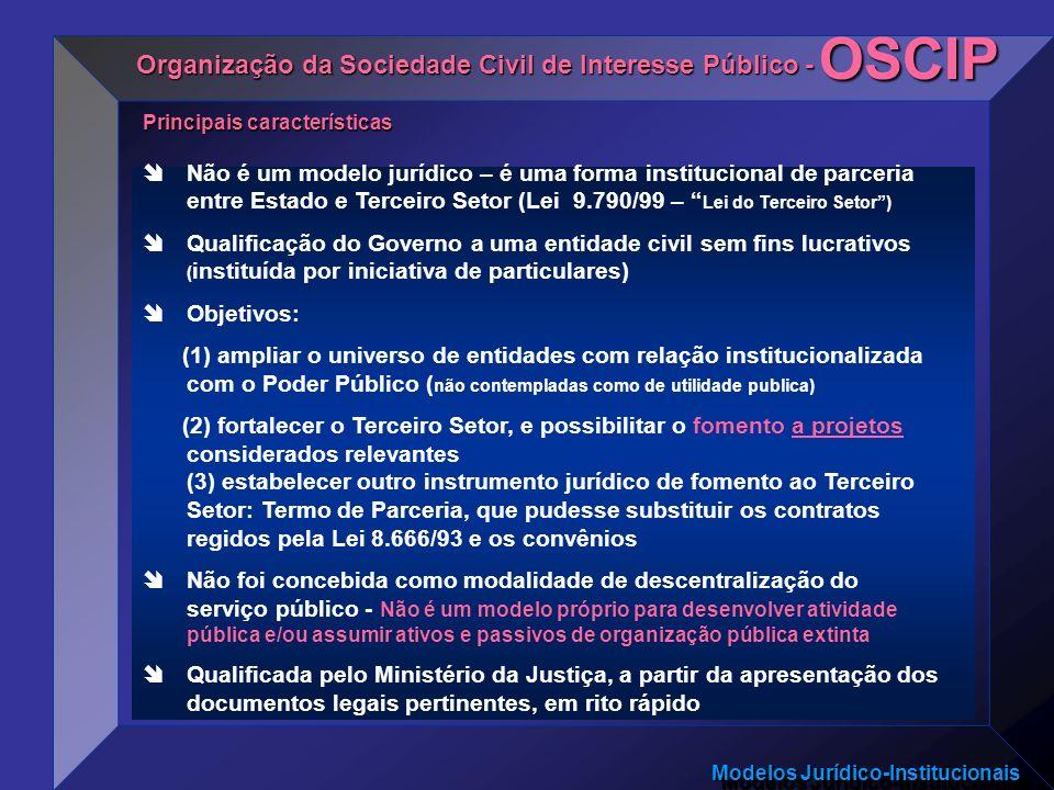 Modelos Jurídico-Institucionais Não é um modelo jurídico – é uma forma institucional de parceria entre Estado e Terceiro Setor (Lei 9.790/99 – Lei do
