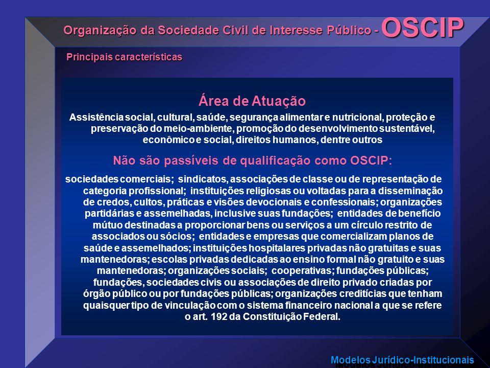 Modelos Jurídico-Institucionais Área de Atuação Assistência social, cultural, saúde, segurança alimentar e nutricional, proteção e preservação do meio
