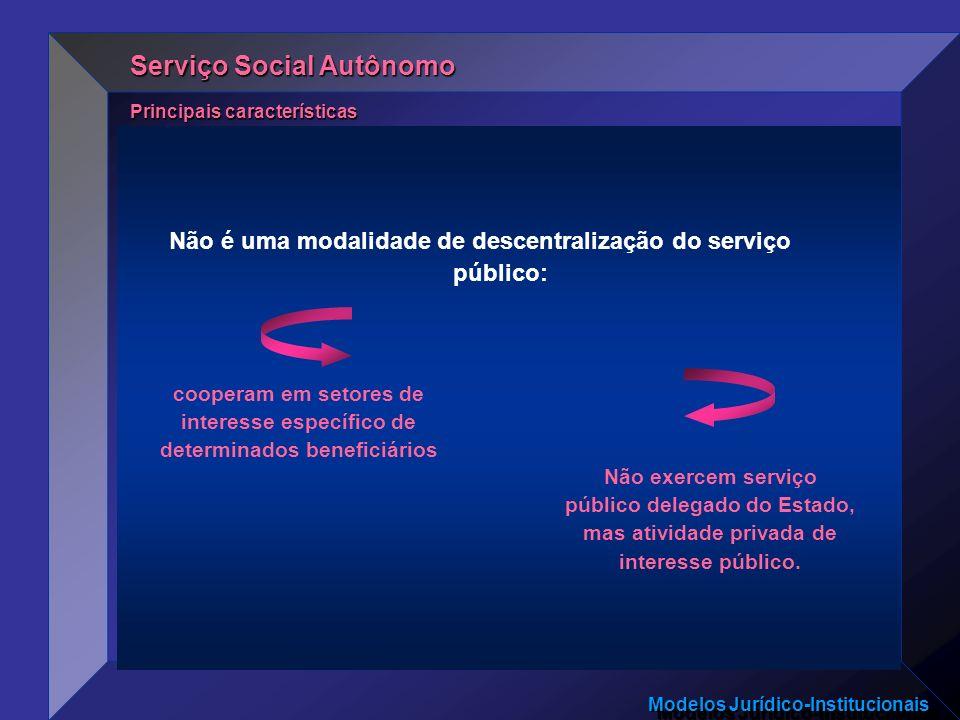 Modelos Jurídico-Institucionais Não é uma modalidade de descentralização do serviço público: Principais características Serviço Social Autônomo Não ex