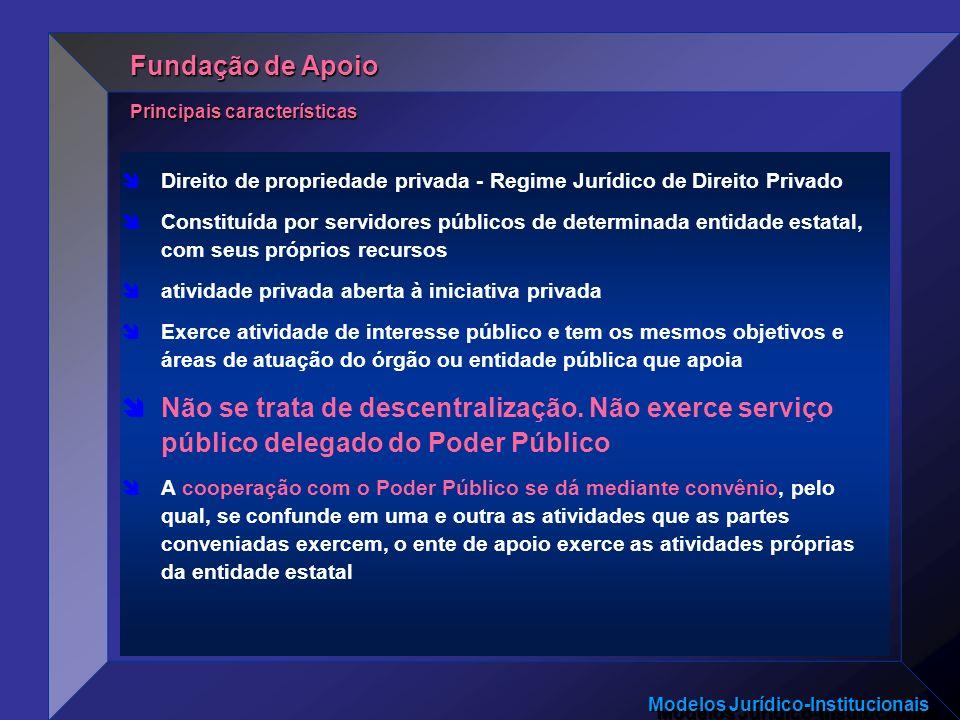 Modelos Jurídico-Institucionais Direito de propriedade privada - Regime Jurídico de Direito Privado Constituída por servidores públicos de determinada