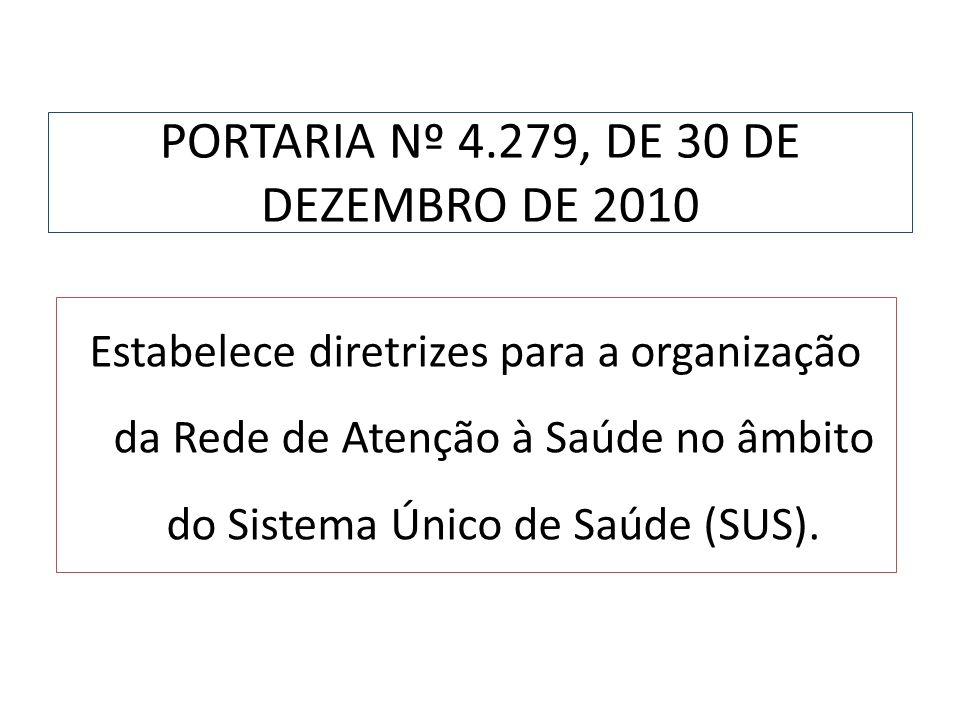 PORTARIA Nº 4.279, DE 30 DE DEZEMBRO DE 2010 Estabelece diretrizes para a organização da Rede de Atenção à Saúde no âmbito do Sistema Único de Saúde (