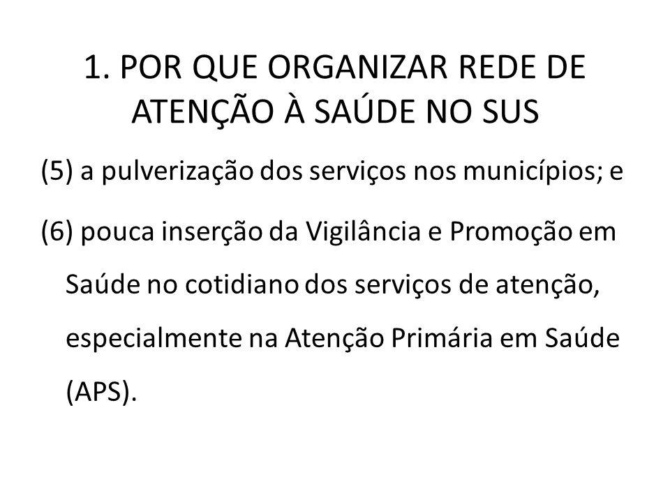 1. POR QUE ORGANIZAR REDE DE ATENÇÃO À SAÚDE NO SUS (5) a pulverização dos serviços nos municípios; e (6) pouca inserção da Vigilância e Promoção em S