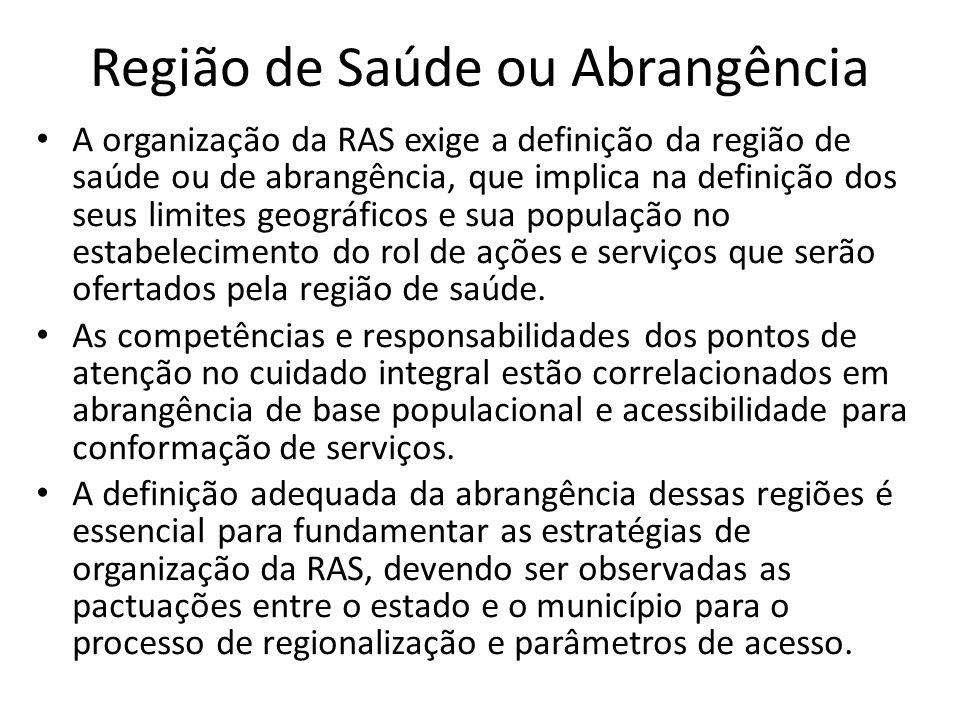 Região de Saúde ou Abrangência A organização da RAS exige a definição da região de saúde ou de abrangência, que implica na definição dos seus limites