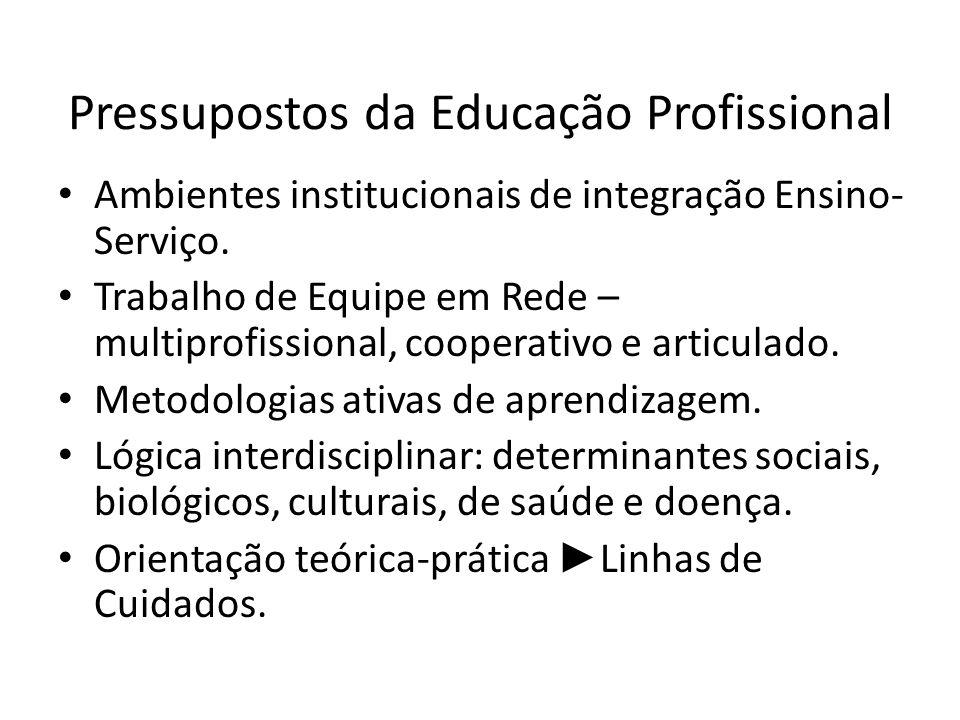 Pressupostos da Educação Profissional Ambientes institucionais de integração Ensino- Serviço. Trabalho de Equipe em Rede – multiprofissional, cooperat