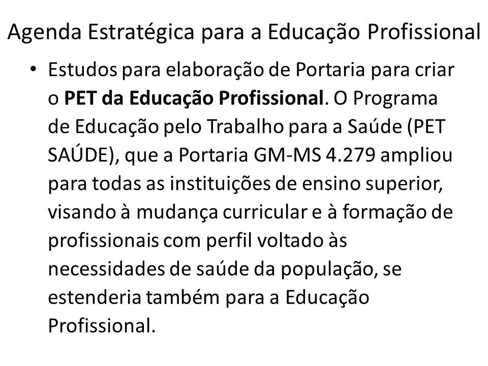 Agenda Estratégica para a Educação Profissional Estudos para elaboração de Portaria para criar o PET da Educação Profissional. O Programa de Educação
