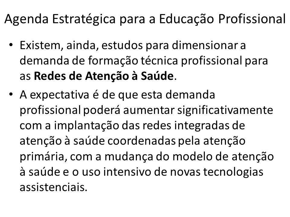 Agenda Estratégica para a Educação Profissional Existem, ainda, estudos para dimensionar a demanda de formação técnica profissional para as Redes de A