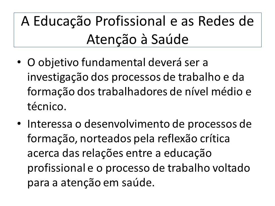 A Educação Profissional e as Redes de Atenção à Saúde O objetivo fundamental deverá ser a investigação dos processos de trabalho e da formação dos tra