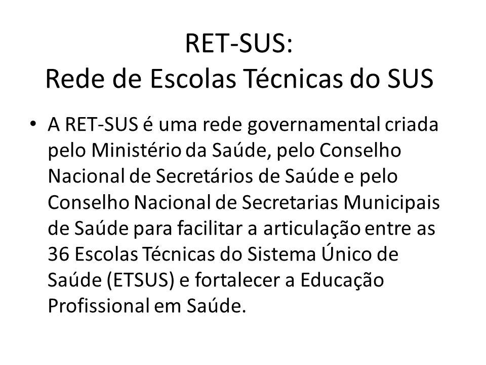 RET-SUS: Rede de Escolas Técnicas do SUS A RET-SUS é uma rede governamental criada pelo Ministério da Saúde, pelo Conselho Nacional de Secretários de