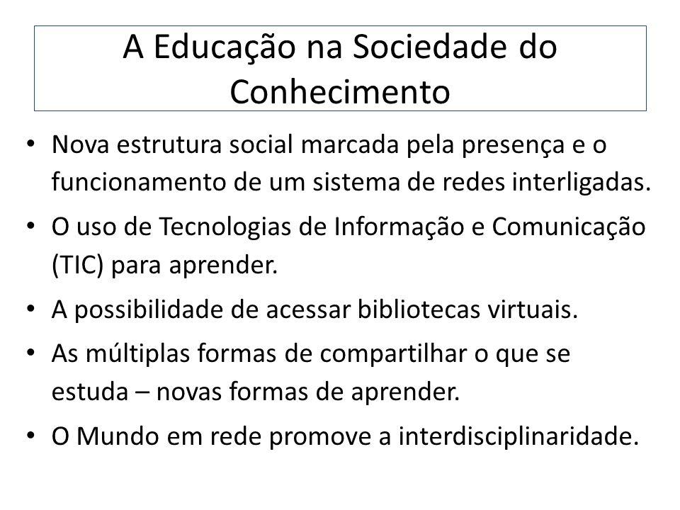 A Educação na Sociedade do Conhecimento Nova estrutura social marcada pela presença e o funcionamento de um sistema de redes interligadas. O uso de Te