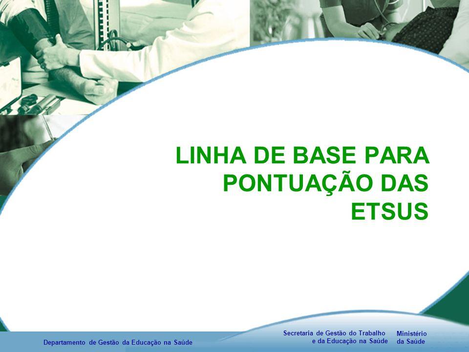 Ministério da Saúde Secretaria de Gestão do Trabalho e da Educação na Saúde Departamento de Gestão da Educação na Saúde LINHA DE BASE PARA PONTUAÇÃO DAS ETSUS