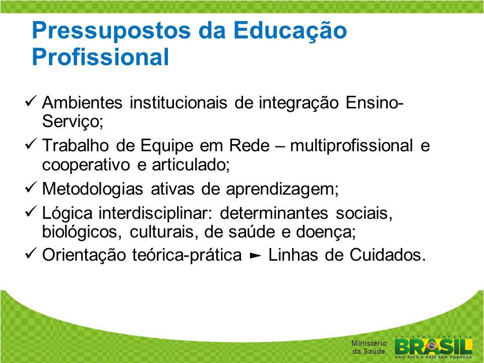 Secretaria de Gestão do Trabalho e da Educação na Saúde Ministério da Saúde Pressupostos da Educação Profissional Ambientes institucionais de integraç