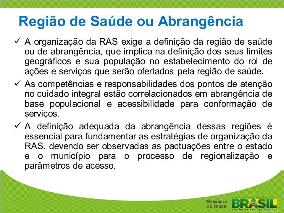 Secretaria de Gestão do Trabalho e da Educação na Saúde Ministério da Saúde Região de Saúde ou Abrangência A organização da RAS exige a definição da r