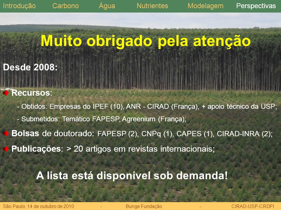 Desde 2008: Recursos: - Obtidos: Empresas do IPEF (10), ANR - CIRAD (França), + apoio técnico da USP; - Submetidos: Temático FAPESP, Agreenium (França