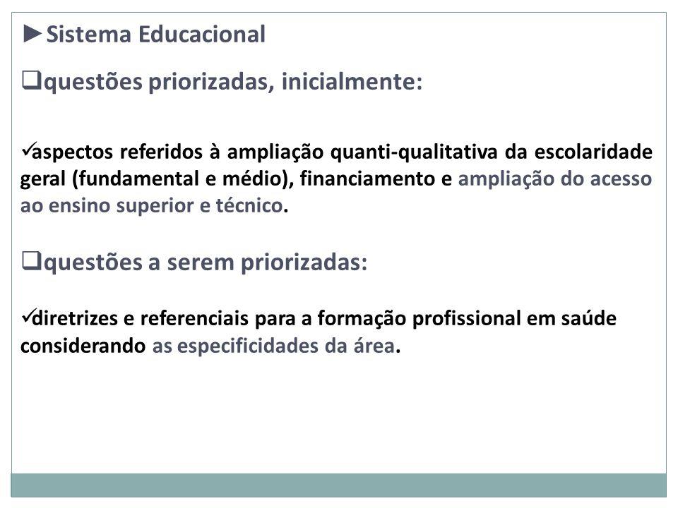 Sistema Educacional questões priorizadas, inicialmente: aspectos referidos à ampliação quanti-qualitativa da escolaridade geral (fundamental e médio),