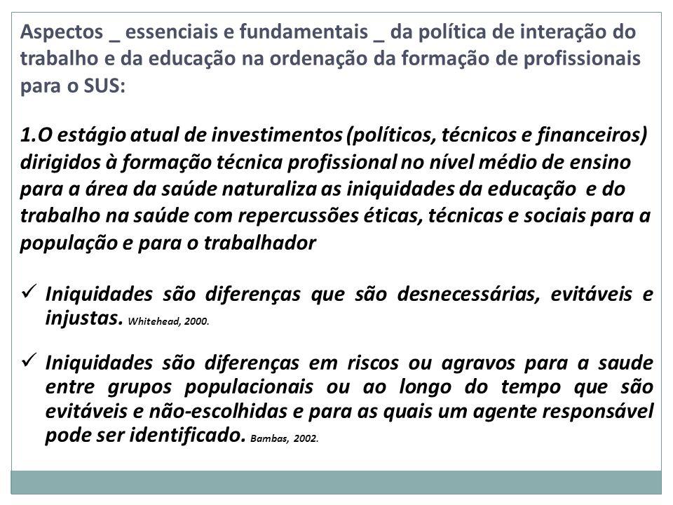 Aspectos _ essenciais e fundamentais _ da política de interação do trabalho e da educação na ordenação da formação de profissionais para o SUS: 1.O es