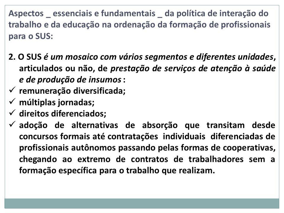 Aspectos _ essenciais e fundamentais _ da política de interação do trabalho e da educação na ordenação da formação de profissionais para o SUS: 2. O S