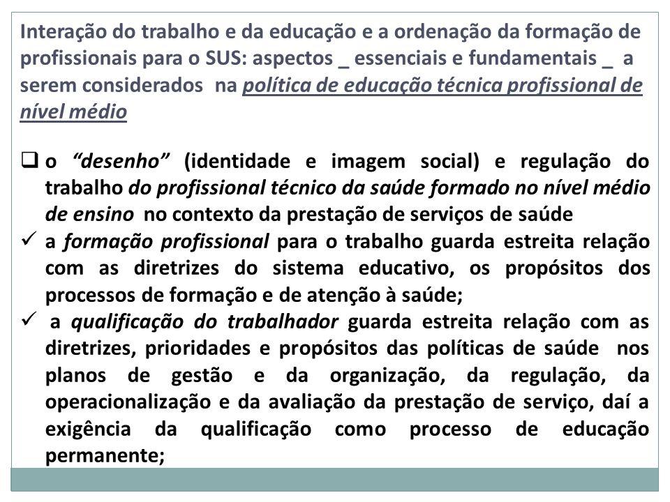 Interação do trabalho e da educação e a ordenação da formação de profissionais para o SUS: aspectos _ essenciais e fundamentais _ a serem considerados