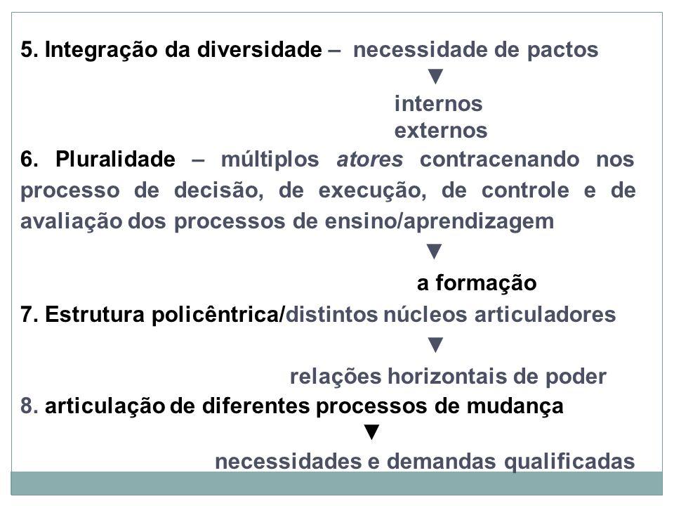 5. Integração da diversidade – necessidade de pactos internos externos 6. Pluralidade – múltiplos atores contracenando nos processo de decisão, de exe