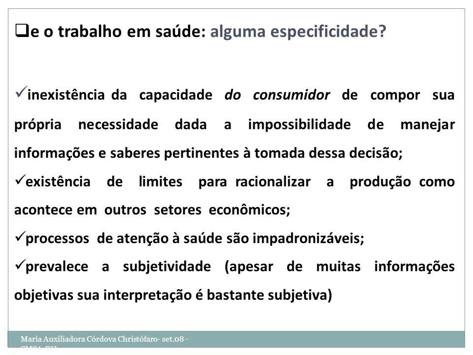 Maria Auxiliadora Córdova Christófaro- set.08 - SMSA-BH e o trabalho em saúde: alguma especificidade? inexistência da capacidade do consumidor de comp