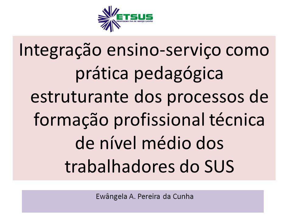 Integração ensino-serviço como prática pedagógica estruturante dos processos de formação profissional técnica de nível médio dos trabalhadores do SUS Ewângela A.