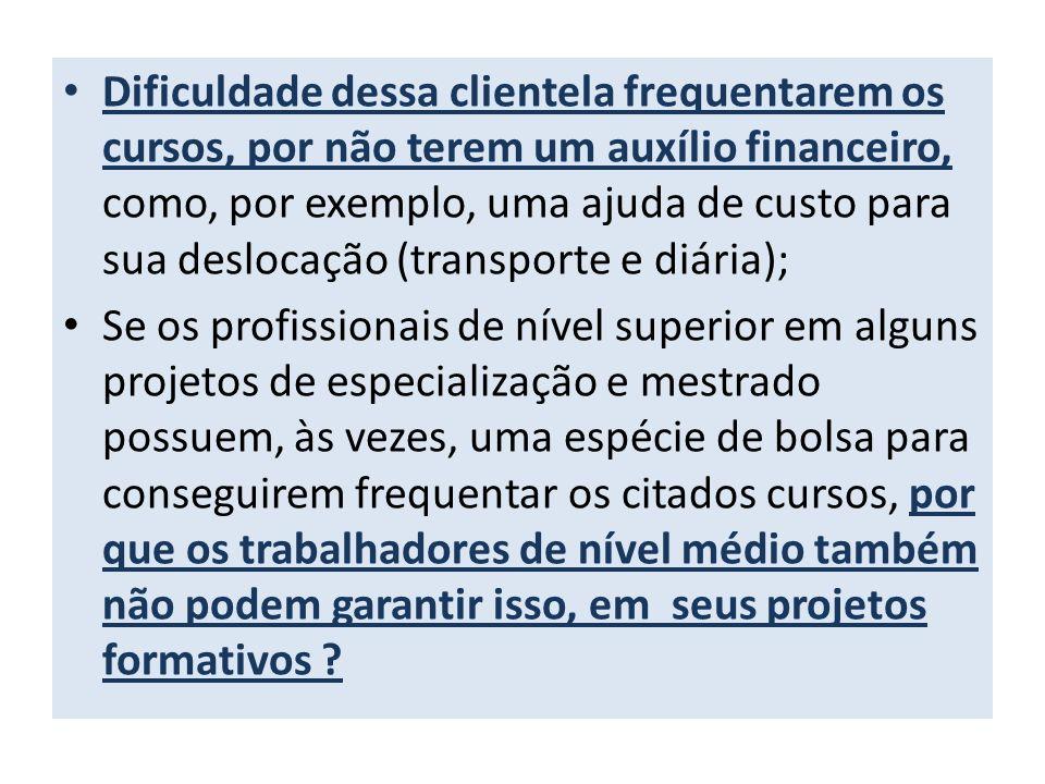 Dificuldade dessa clientela frequentarem os cursos, por não terem um auxílio financeiro, como, por exemplo, uma ajuda de custo para sua deslocação (tr