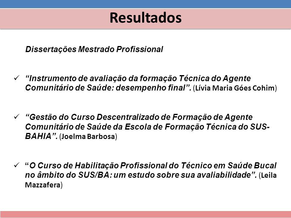 Resultados Dissertações Mestrado Profissional Instrumento de avaliação da formação Técnica do Agente Comunitário de Saúde: desempenho final. (Lívia Ma